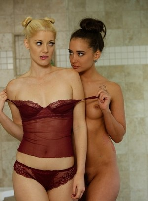 Best friends Charlotte Stokely & Gia Paige explore lesbian desires in bathtub