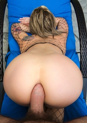 Pornstar Dahlia Sky takes a fat cock in her butthole wearing fishnet stockings