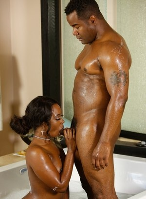 Black masseuse Skyler Nicole undresses herself and client before pleasing him