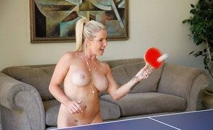 Female roommates get naked while having a game of table tennis