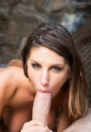 Top pornstar August Ames hooks up with a large cock for a hard fuck