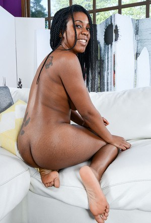 Black amateur Janelle Taylor wears a smile while showcasing her hairy bush