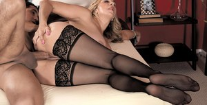 Chubby mom Sophia Jewel shows her stepson a good time in black stockings