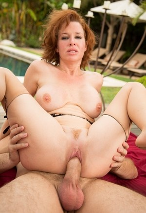 Redhead pornstar Veronica Avluv gets ass fucked by a pool