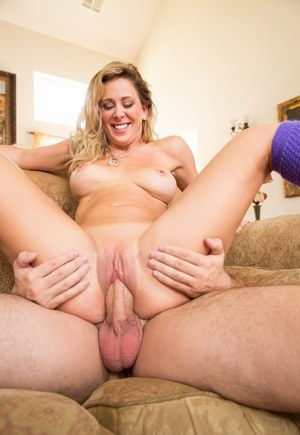 Busty MILF Cherie DeVille gets fucked hard wearing leg warmers only