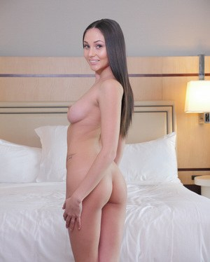 Hot brunette solo girl Ariana Marie shows her pink twat before taking a bath