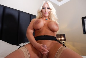 Thick blonde female Alura Jenson spits out cum after getting fucked