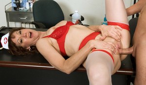Mature nurse Elle Denay solves a young boy's problems with anal sex
