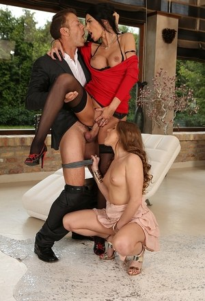 Hot females Sofi Goldfinger and Ania Kinski get their assholes ripped in 3some