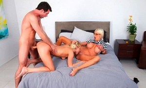 Teen girl is coerced into a threesome by her naughty stepmom