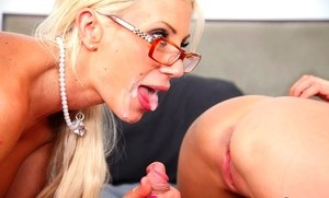 Blonde stepmother joins her stepdaughter for a threesome fuck