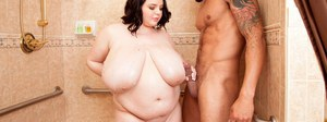 Obese brunette female Peyton Thomas gets nailed hard in the shower