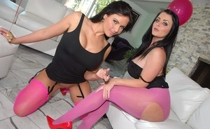 Brunette females in pink stockings eat out each others filthy asshole