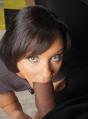 Clothed female Alysa Gap sucks off her dope dealer and eats his jizz too
