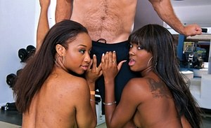 Black chicks Sierra Banxxx & Imani Rose give a double blowjob