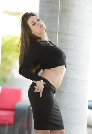 Hot solo model Cassidy Klein strips off knee length skirt for nude posing