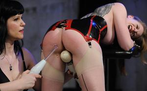 Female sex slave undergoes electro torture and more by her lesbian lover