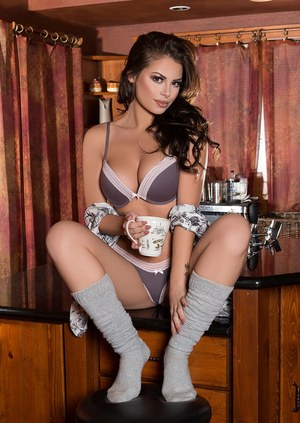 Sexy brunette Shelly Lee tales off her bra and panty set as well as her socks