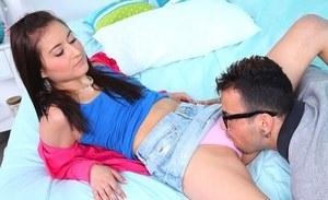 Young Latina girl Bliss Dulce bangs her stepfather while her mom is out