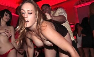 Club going chicks have sexual relations with each other and men