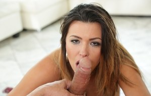 Sexy MILF Danica Dillon deepthroats a cock until her mouth is filled with jizz