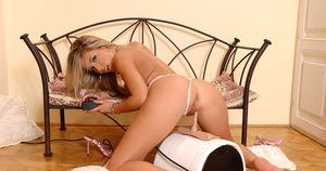 Sexy blonde chick Cherry Jul pleasures herself with a Sybian sex machine