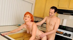 Mature housewife gets her ginger pussy fucked and creampied