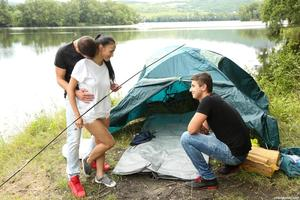 Brunette female Nicole Love fucks 2 of her friends on a camping trip