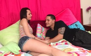 Brunette teenager Mimi Rayne gives up her 18 year old twat to her stepbro