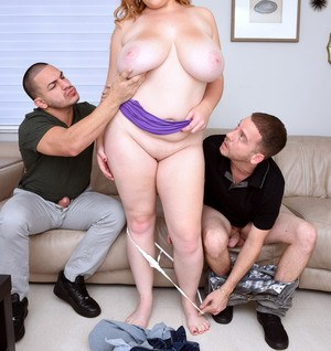 Blonde BBW Mya Blair fucks and sucks 2 boys at the same time