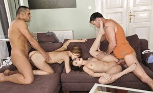 Swinging chicks Diamond Cross and Stacy Snake do a foursome