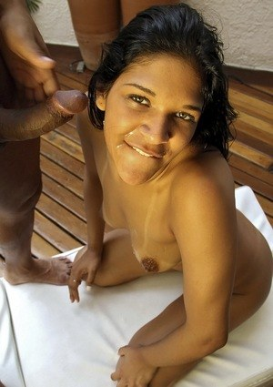 Latina female Manuela Amorina gets fucked in the ass after going for a swim