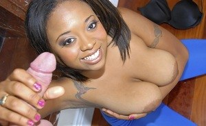 Black female Crystal Jackson unveils her big boobs before giving a blowjon