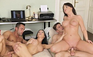 Brunette chicks Bijou & Honey Damon swap partners in a foursome fuck