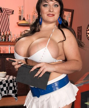 Brunette waitress Angel Gee whips out her huge boobs and covers them in cream