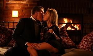 Hot blonde female Angel Piaff and her man friend fuck by light of fireplace