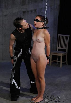 Female sex slave is tortured and masturbated against her will in a blindfold