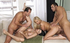 Hot females Candy Love and Abbie Cat hookup for a foursome fuck