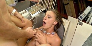 Horny MILF s relieved of all her clothing before getting fucked in her office