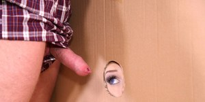 Blonde bride Angel Wicky sucks off an uncut dick at a gloryhole