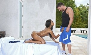 Black dime Jade Nacole drains the jizz from a guy's dick in the nude