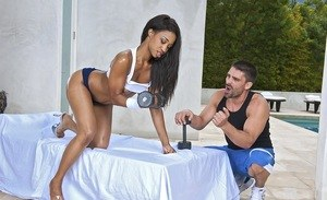 Fit ebony chick Jade Nacole bangs her personal trainer after getting oiled up