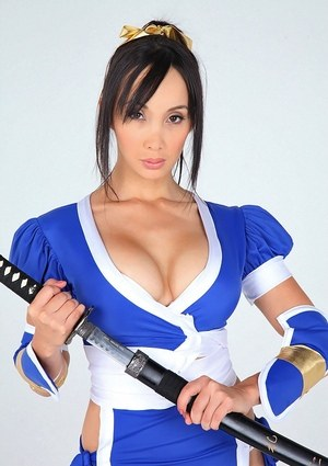 Asian solo model releases her big tits from her cosplay costume