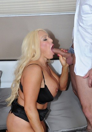 Blonde cougar Alexis Diamonds sucks off two younger guys at the same time