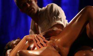 Anabelle gets all oiled up before fucking her man's brains out