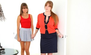 Stepmom Darla Crane cleans stepdaughter Riley Reid's asshole with her tongue