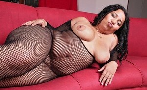 Latina BBW pulls her big boobs out of a crotchless bodystocking