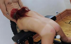 Redhead wife with tattoos is used by her husband as his personal sex slave