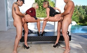 Leggy females Britney Amber & Samantha Saint get pleasured by 2 men