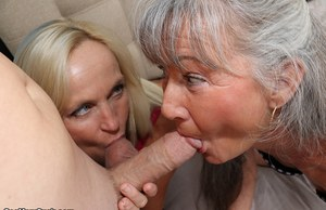 Mature woman gets some help in sucking a cock from her mother
